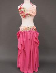 気品溢れるローズのベリーダンス衣装1 MiLLANA