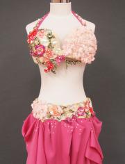 気品溢れるローズのベリーダンス衣装2 MiLLANA
