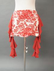 赤フリルのダマスク調ヒップスカーフ MiLLANA